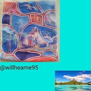 Vintage Watercolor Polynesian Scarf